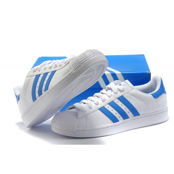 économiser 6aa86 6c8dd adidas superstar bleu et blanche