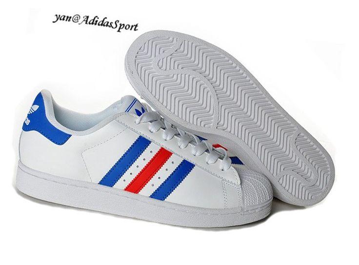 économiser 6fd7a a536e adidas superstar bleu et blanche
